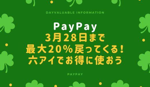 【PayPay】最大20%戻ってくる!六アイのお店でもお得に利用|3月28日まで